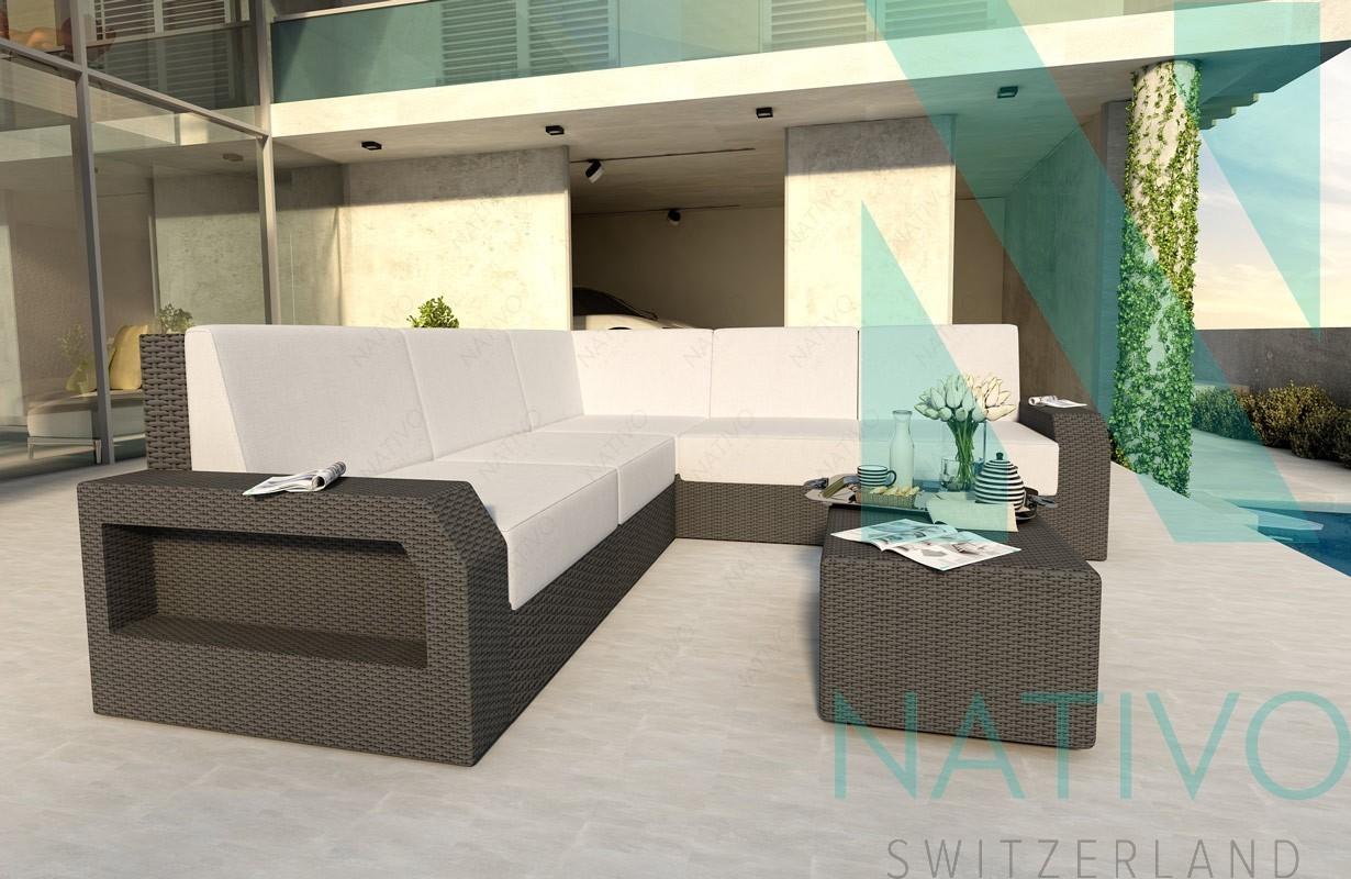 Divano per il giardino mesia corner v1 nativo mobili in rattan for Divano rattan