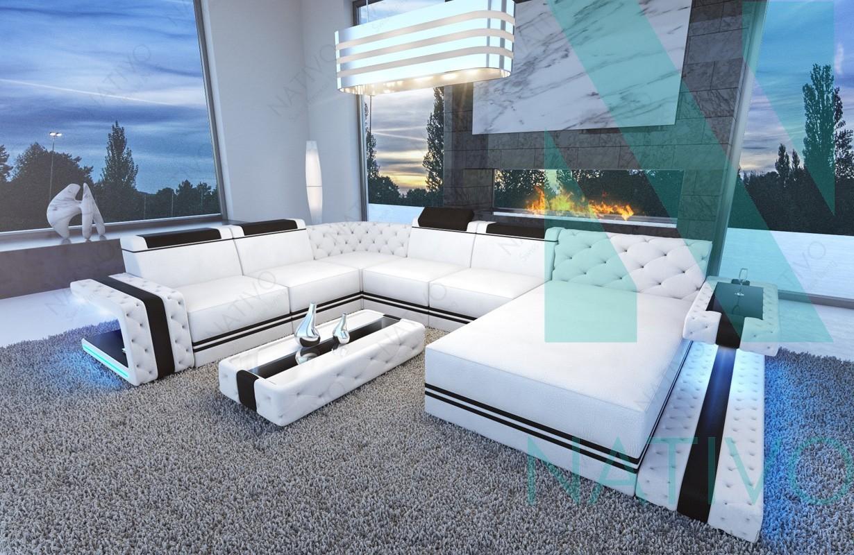... Designer Sofa CESARO XXL Mit LED Beleuchtung ...