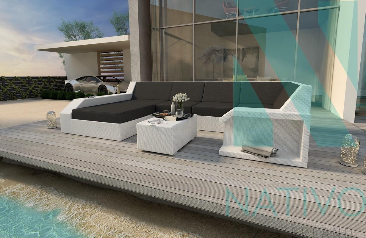 Divano per il giardino matis xl in rattan nativo mobili in for Divano rattan