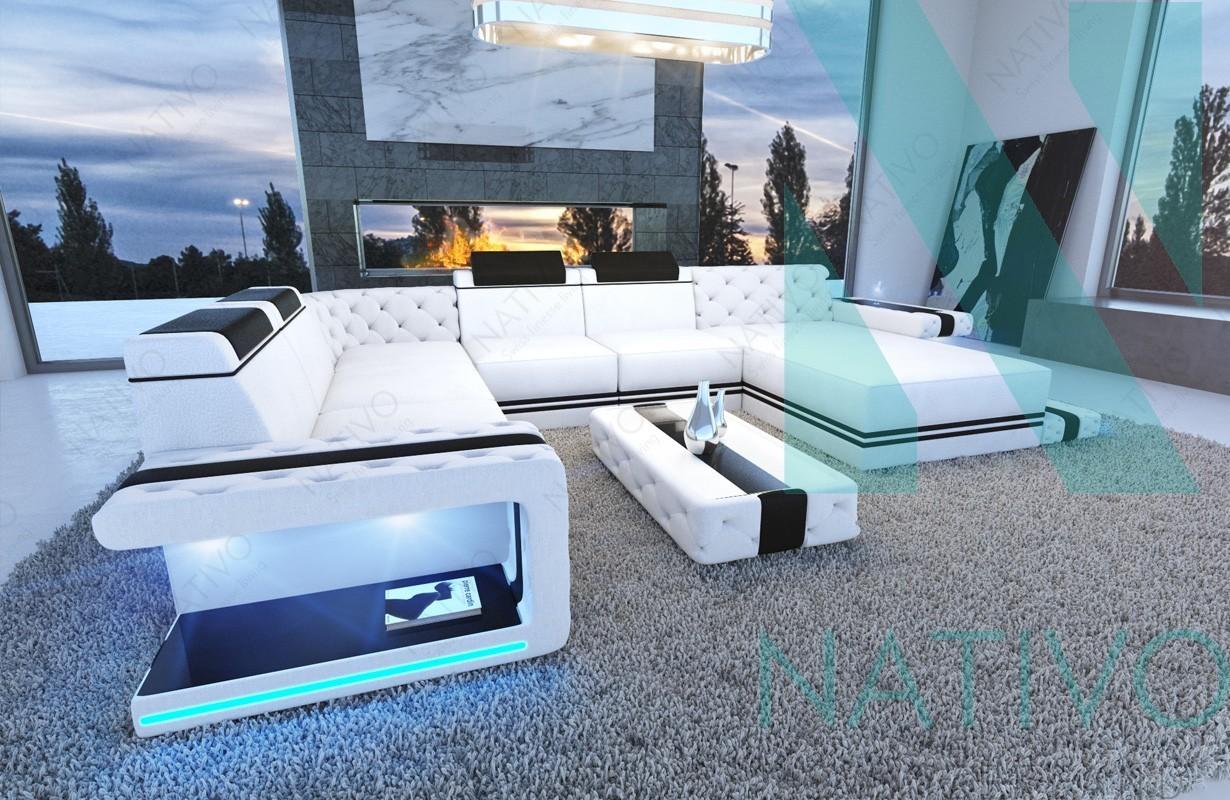 designer sofa cesaro xxl mit led beleuchtung - Canape Design Led