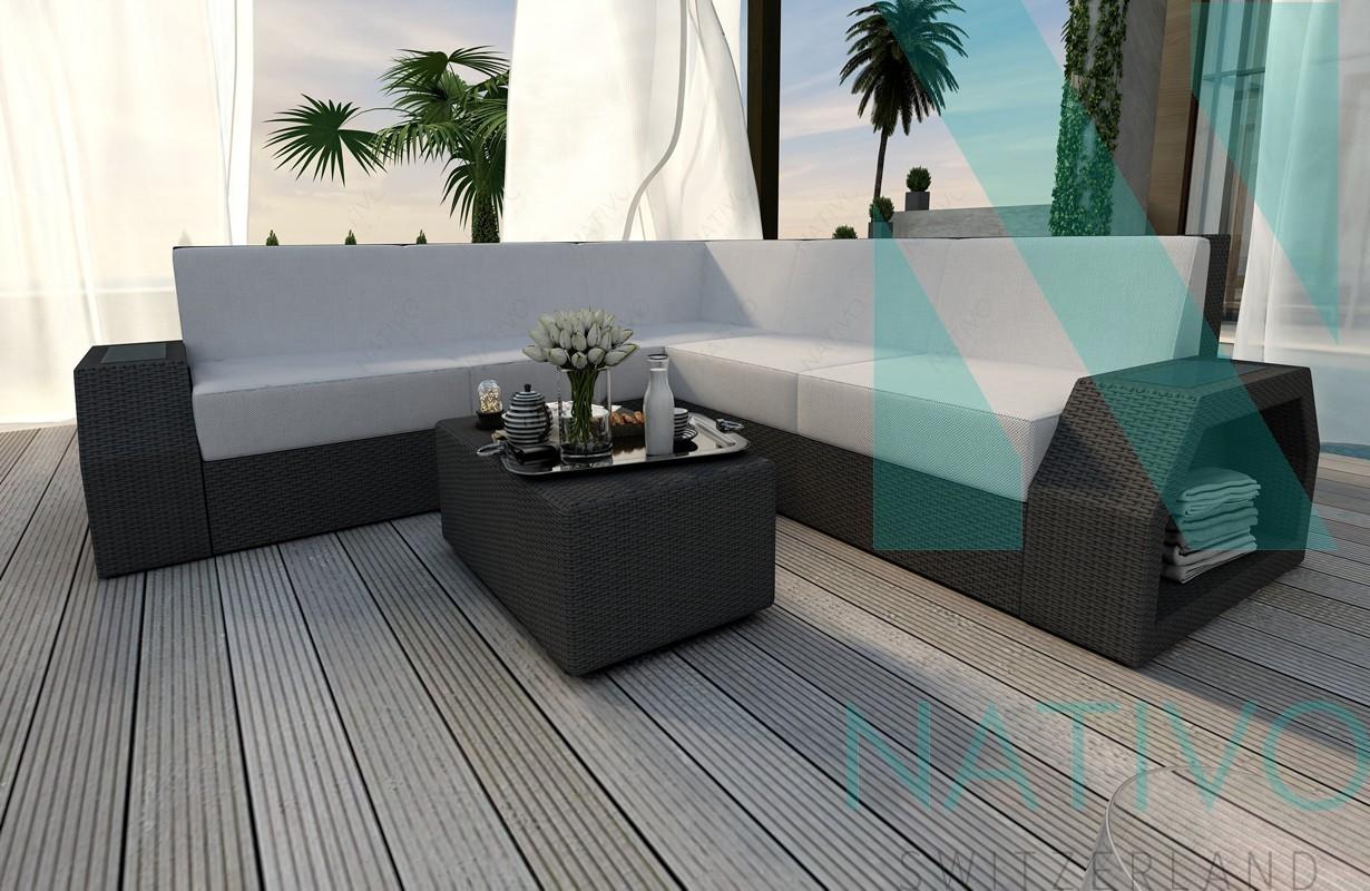 canap lounge clermont corner v1 in rattan led nativo magasin de meubles. Black Bedroom Furniture Sets. Home Design Ideas