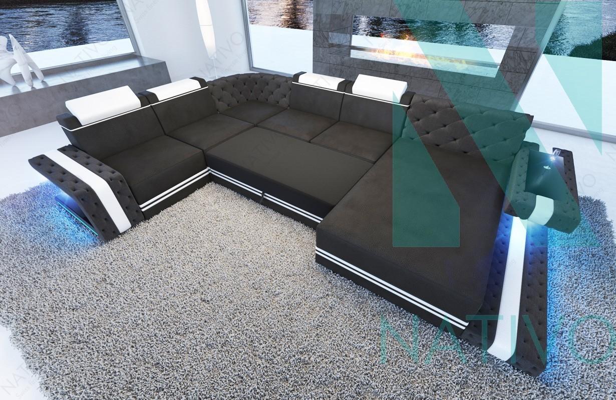 designer sofa cesaro xxl mit led beleuchtung canap - Canape Design Led