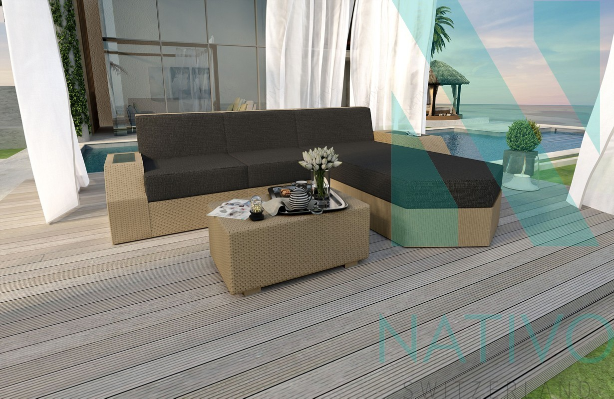 canap lounge clermont mini v1 in rattan led nativo magasin de meubles. Black Bedroom Furniture Sets. Home Design Ideas