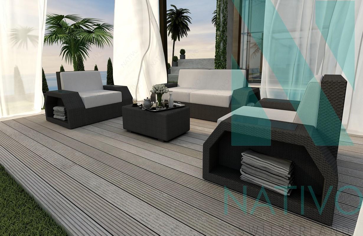 Rattan Sofa Lounge Modular CLERMONT 2+1+1 von NATIVO Möbel