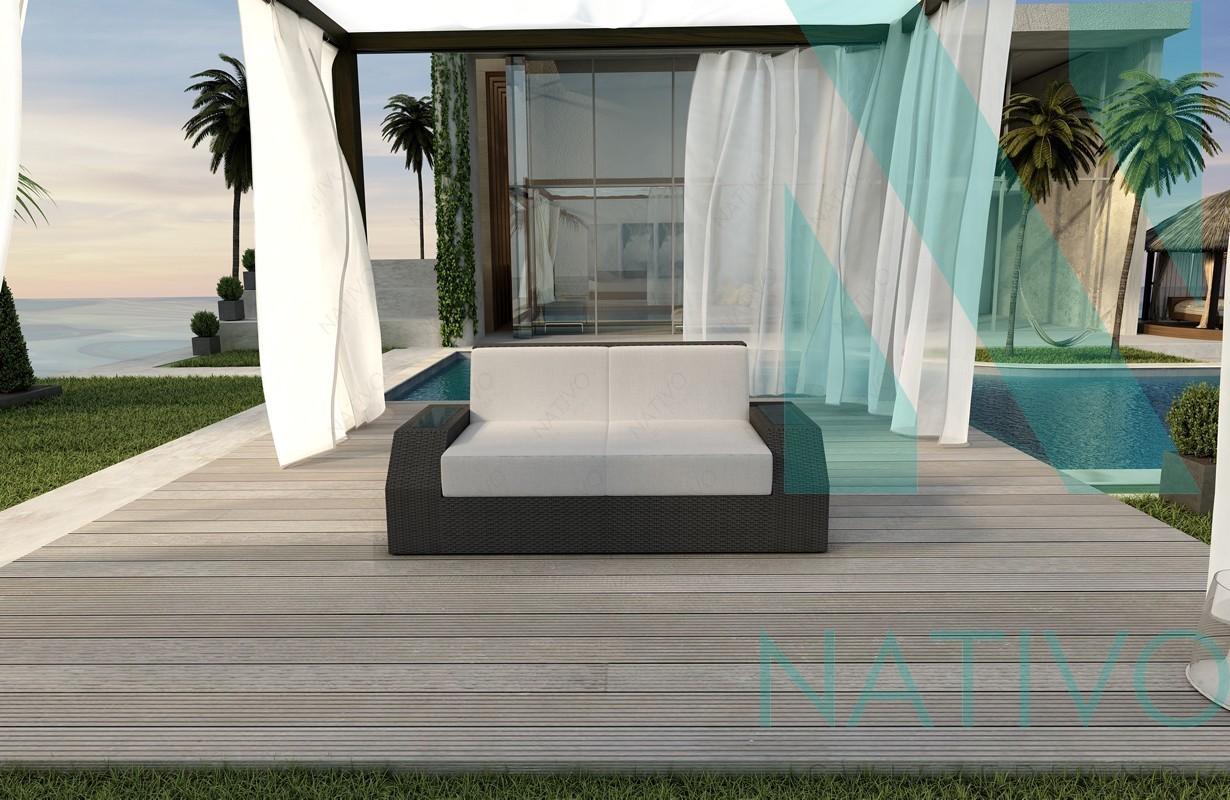 Rattan lounge sofa clermont v1 in rattan von nativo m bel for Lounge mobel 2 sitzer