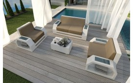 Lounge Set en rotin CLERMONT 2+1+1