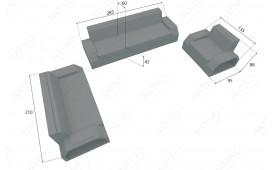 Canapé 3 places en rotin CLERMONT v2