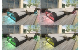 Lounge Set en rotin MATIS 2+1+1