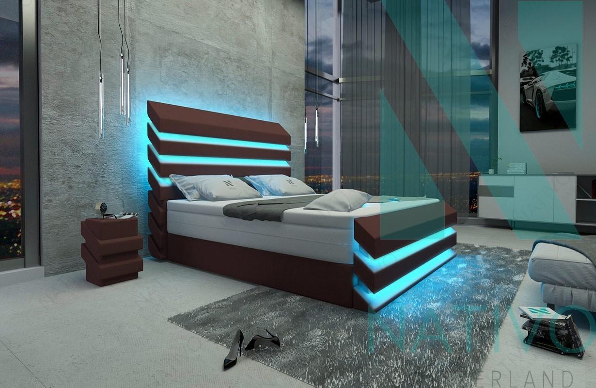 designer boxspringbett berlin in leder inkl topper nativo schweiz. Black Bedroom Furniture Sets. Home Design Ideas