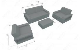 Lounge Set en rotin MESIA 2+1+1 v2