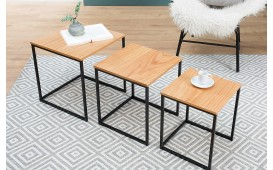 Tavolino d'appoggio di design UNITY OAK BLACK SET 3