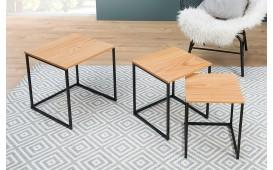 Table d'appoint Design UNITY OAK BLACK SET 3