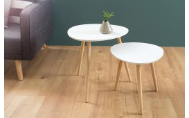 Tavolino d'appoggio di design PIN WHITE SET 2
