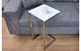 Table d'appoint Design SIMPO 60 cm WHITE SILVER