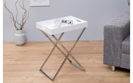 Table d'appoint Design LAVET WHITE SILVER