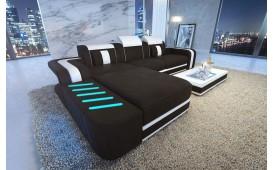 Designer Sofa SPACE MINI mit LED Beleuchtung mit Schlaffunktion (Schwarz / Weiss) Ab lager