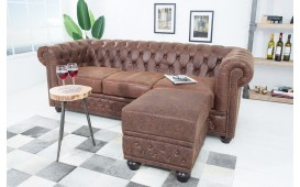 Designer Sitzhocker CHESTERFIELD BROWN CUBE