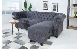 Designer Sitzhocker CHESTERFIELD GREY CUBE