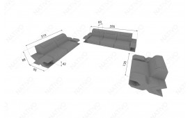 3 Sitzer Sofa MYSTIQUE mit LED Beleuchtung & USB Anschluss NATIVO™ Möbel Schweiz