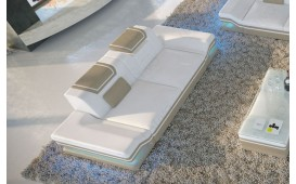 Canapé Design 2 places ROUGE avec éclairage LED et port USB