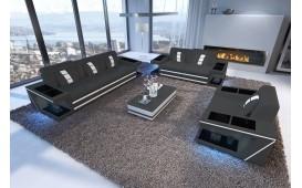 Designer Sofa CAREZZA 3+2+1 mit LED Beleuchtung + Couchtisch CAREZZA Ab lager