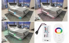 Letto Boxspring NEMESIS in pelle con Topper e presa USB