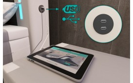 Letto Boxspring ROMA in pelle con Topper e presa USB