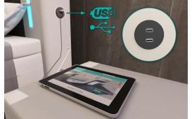 Lit boxspring ROMA en cuir avec topper & port USB