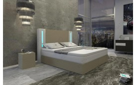 Letto Boxspring ROMA in pelle con Topper e presa USB