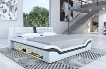 Designer Lederbett EVERLAST mit LED Beleuchtung (Schwarz / Weiss) Ab lager von NATIVO™ Möbel Österreich
