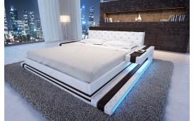 Designer Lederbett IMPERIAL inkl. LED Beleuchtung (Weiss / Schwarz ) Ab lager
