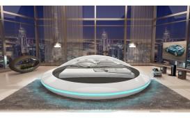 Designer Lederbett MARS mit Stauraum-Funktion inkl. LED Beleuchtung & USB Anschluss (Weiss / Schwarz ) Ab lager