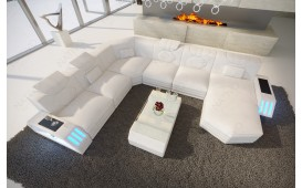 Designer Sofa CLERMONT XXL mit LED Beleuchtung (Weiss) Ab lager