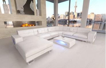 Designer Sofa GREGORY XXL mit LED Beleuchtung (Weiss) Ab lager NATIVO™ Möbel Schweiz