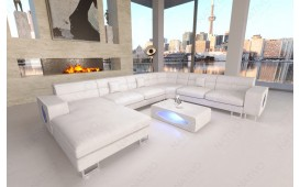 Designer Sofa GREGORY XXL mit LED Beleuchtung (Weiss) Ab lager