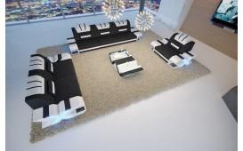 Designer Sofa MYSTIQUE 3+2+1 mit LED Beleuchtung & USB Anschluss (Schwarz / Weiss) Ab lager NATIVO™ Möbel Schweiz
