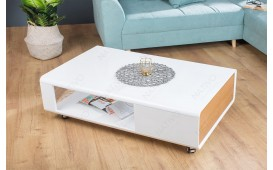 Tavolino di design COLUM WHITE 110 cm