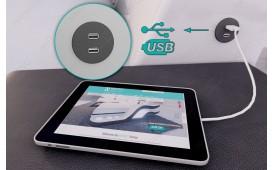 Letto di design NEO con illuminazione a LED e presa USB