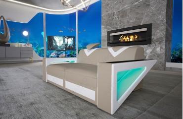 Canapé Design 2 places FALCO avec éclairage LED & port USB
