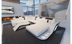 Designer Sofa HERMES XXL mit LED Beleuchtung (Weiss / Schwarz) AB LAGER