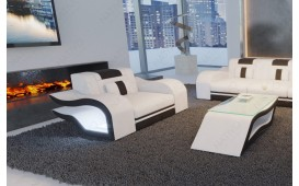 Fauteuil Design HERMES avec éclairage LED (Blanc / Noir) EN STOCK
