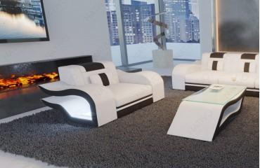 Sessel HERMES mit LED Beleuchtung (Weiss / Schwarz) AB LAGER NATIVO™ Möbel Schweiz