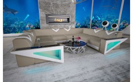 Canapé Design FALCO CORNER U FORM avec éclairage LED & port USB