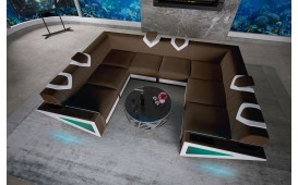 Canapé Design NEMESIS CORNER U FORM avec éclairage LED & port USB