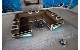 Divano di design FALCO CORNER U FORM con illuminazione a LED e presa USB
