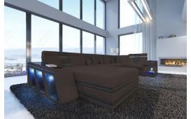 Designer Sofa CAREZZA XXL mit LED Beleuchtung (Braun / Schwarz) AB LAGER NATIVO™ Möbel Schweiz