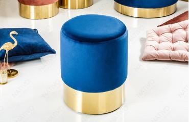 Designer Sitzhocker ROCCO BLUE GOLD 35 cm NATIVO™ Möbel Schweiz