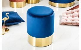 Designer Sitzhocker ROCCO BLUE GOLD 35 cm