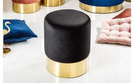 Designer Sitzhocker ROCCO BLACK GOLD 35 cm