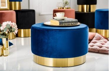 Designer Sitzhocker ROCCO BLUE GOLD 55 cm NATIVO™ Möbel Schweiz